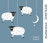 cute sheep and moon in paper... | Shutterstock .eps vector #224076160