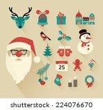 christmas flat icons design set   Shutterstock .eps vector #224076670