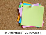 colorful sticky notes on cork... | Shutterstock . vector #224093854