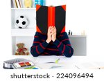 Small photo of boy has a problem with reading