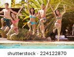 group of teenage friends... | Shutterstock . vector #224122870