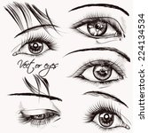 Set of vector hand drawn detailed eyes for design
