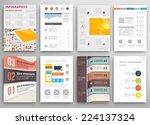 set of flyer  brochure design... | Shutterstock .eps vector #224137324