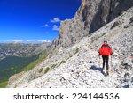 climber woman approaching via... | Shutterstock . vector #224144536