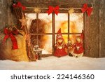 christmas decorated windows | Shutterstock . vector #224146360