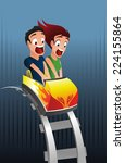 scary rollercoaster amusement... | Shutterstock .eps vector #224155864