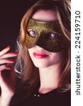 blond woman with mask of... | Shutterstock . vector #224159710