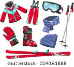 Ski Tools And Equipment Cartoo...