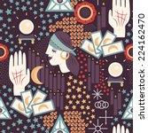 fortune teller themed seamless... | Shutterstock .eps vector #224162470