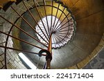 a spiral staircase in old tower ... | Shutterstock . vector #224171404