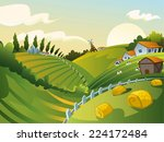 rural landscape with house and