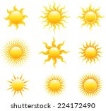 sun icon set | Shutterstock .eps vector #224172490