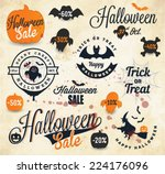 halloween badges and labels in... | Shutterstock .eps vector #224176096