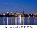 Melbourne night CBD panorama - stock photo