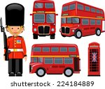 a royal guard  and  london bus | Shutterstock .eps vector #224184889