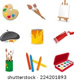 fine arts icon set. with color... | Shutterstock .eps vector #224201893