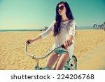outdoor portrait of happy woman ...   Shutterstock . vector #224206768