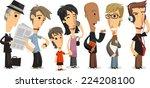 waiting line standing people in ... | Shutterstock .eps vector #224208100