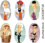 various cartoon philosophers... | Shutterstock .eps vector #224208718