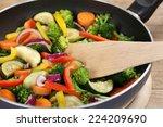 healthy eating preparing food...   Shutterstock . vector #224209690