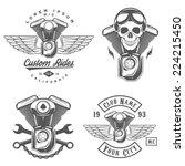 set of vintage motorcycle... | Shutterstock . vector #224215450