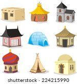 set of traditional houses... | Shutterstock .eps vector #224215990
