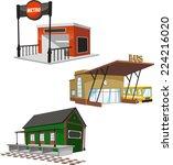 set of 3 public building set ...
