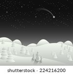 winter christmas card landscape ... | Shutterstock .eps vector #224216200