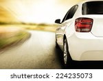 Stock photo white sport car without a trade brand and sunset 224235073