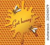 yellow  honey hexagon and bee | Shutterstock .eps vector #224240479