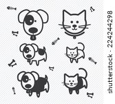 cat and dog icons. illustration ... | Shutterstock .eps vector #224244298