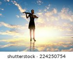 silhouette of woman playing... | Shutterstock . vector #224250754