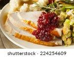 homemade thanksgiving turkey on ... | Shutterstock . vector #224254609