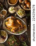 whole homemade thanksgiving... | Shutterstock . vector #224254678