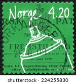 Small photo of NORWAY - CIRCA 2000: A 4.20k stamp printed in Norway shows image of an aerosol container, from the inventions series, circa 2000