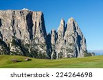 alpine huts at seiser alm  alpe ...   Shutterstock . vector #224264698