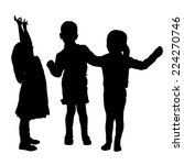 vector silhouette of children... | Shutterstock .eps vector #224270746