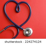 stethoscope isolated on red... | Shutterstock . vector #224274124
