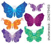 set of beautiful butterflies | Shutterstock .eps vector #224275453