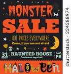 bright trick or treat poster in ... | Shutterstock .eps vector #224288974