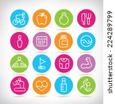 fitness icons set  colorful... | Shutterstock .eps vector #224289799