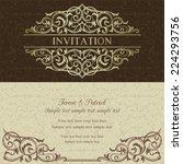 baroque invitation card in old... | Shutterstock .eps vector #224293756
