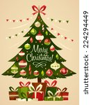 christmas tree with gifts.... | Shutterstock .eps vector #224294449
