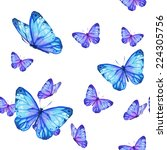 Stock photo watercolor handmade colorful natural seamless pattern set with butterfly 224305756