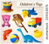 set of kid's toys. cartoon... | Shutterstock .eps vector #224313076