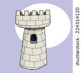 hand drawn cartoon castle tower ... | Shutterstock .eps vector #224314120
