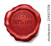 90 percent off red wax seal... | Shutterstock .eps vector #224317528
