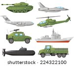War Vehicles Color Set Vector...