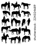 horse and man silhouettes set | Shutterstock .eps vector #224324689