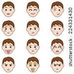 cute boy faces showing... | Shutterstock .eps vector #224331430